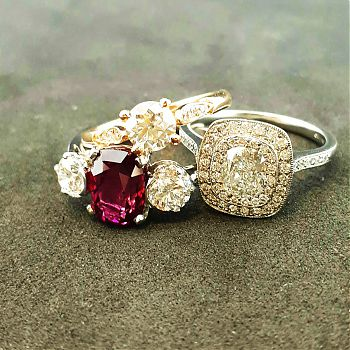 Vivid natural ruby and diamonds